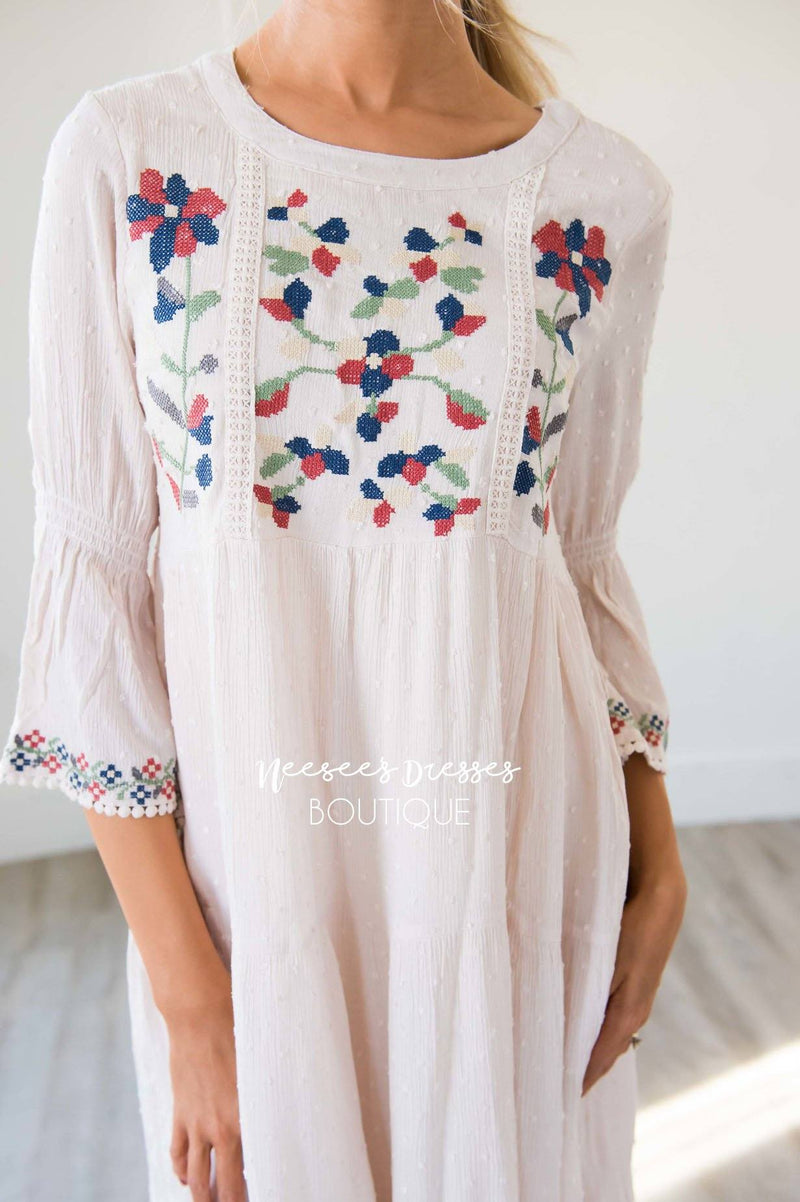 Ivory Colorful Embroidered Dotted Modest Dress Best Online Sabrina Swing Sleeves The