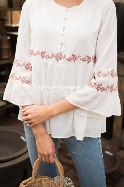 Ivory Flounce Embroidered Blouse Tops vendor-unknown