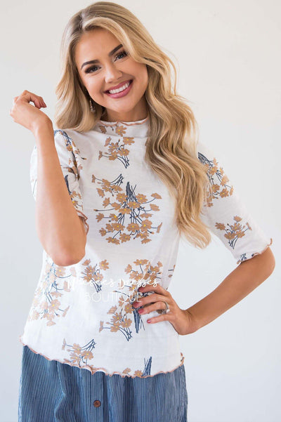 Floral Print Merrow Detailed Top Tops vendor-unknown