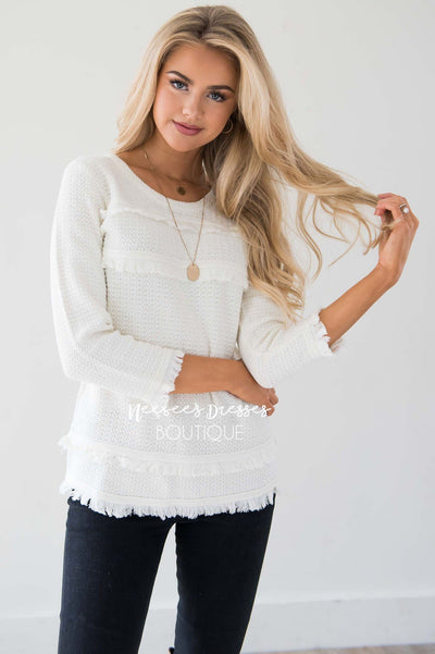 Ivory Fringe Trim Sweater Tops vendor-unknown
