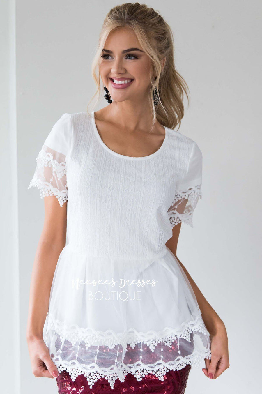 Scallop Lace Tulle Peplum Blouse