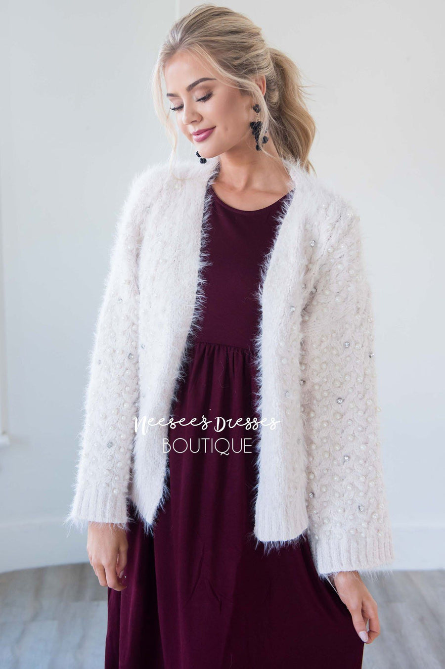 The Sirita Rhinestone & Pearl Cardigan Tops vendor-unknown