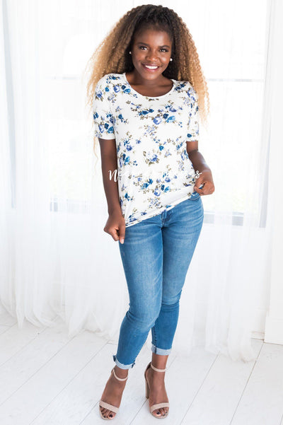 Floral Scoop Neck Tee Tops vendor-unknown