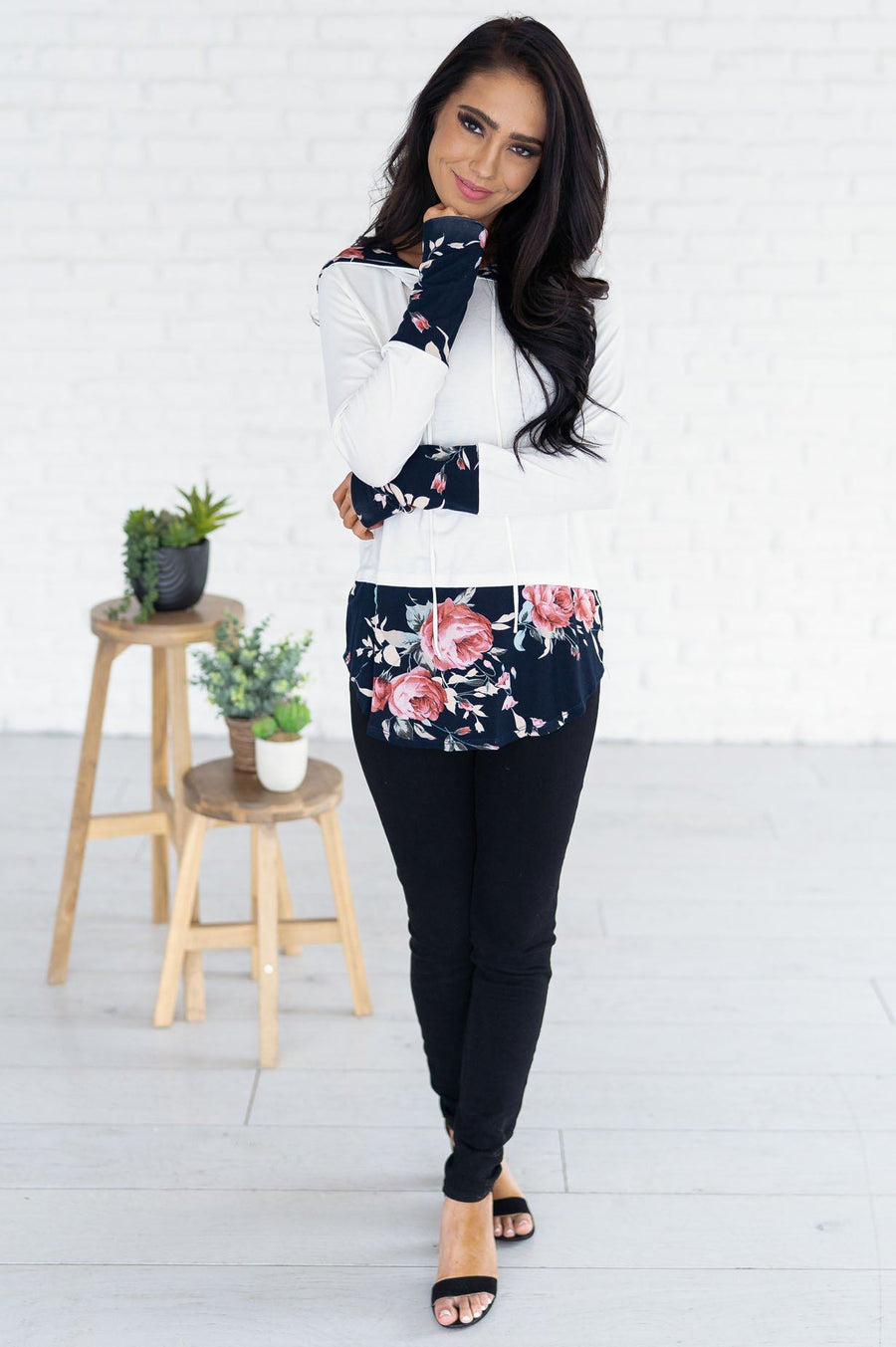 Midnight Blooms Modest Hoodie