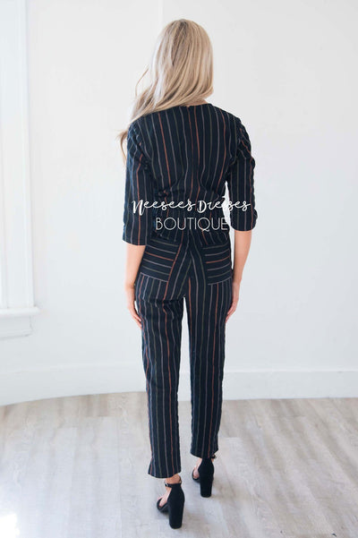 Black Pinstripe Linen Jumpsuit Modest Dresses vendor-unknown
