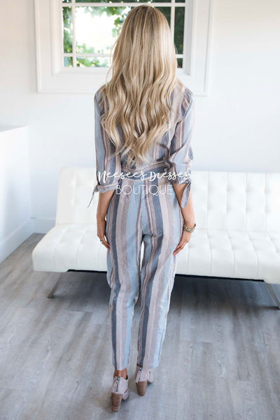 Dusty Blue & Tan Striped Jumpsuit Modest Dresses vendor-unknown