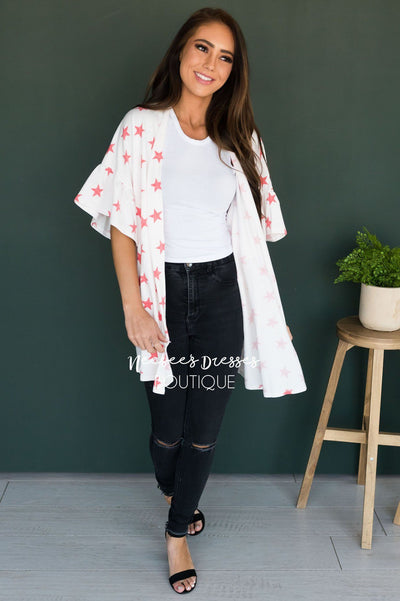 Star Spangled Modest Kimono Tops vendor-unknown
