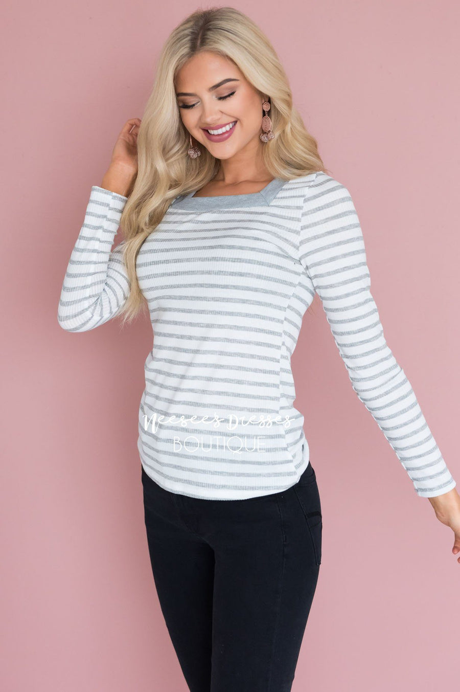 Leading Lines Modest Ribbed Top