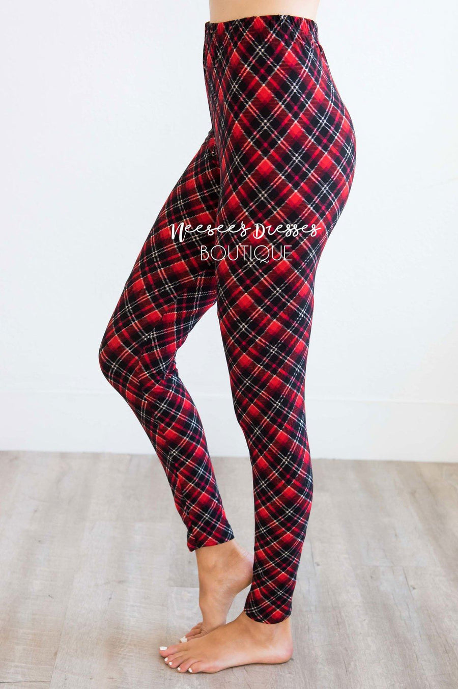 Red Plaid Christmas Print Leggings