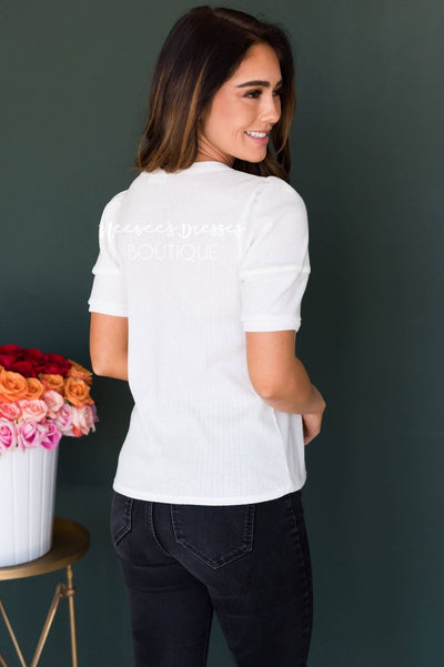Let it Be Cuff Sleeve Top Tops vendor-unknown