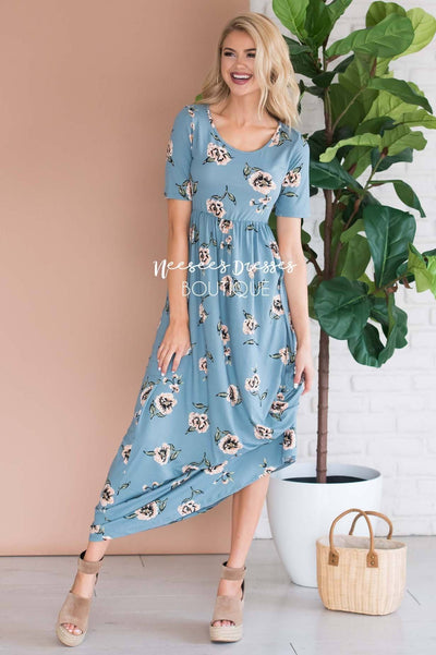 a28158ff99b3 Light Blue and Soft Peach Floral Modest Maxi Dress