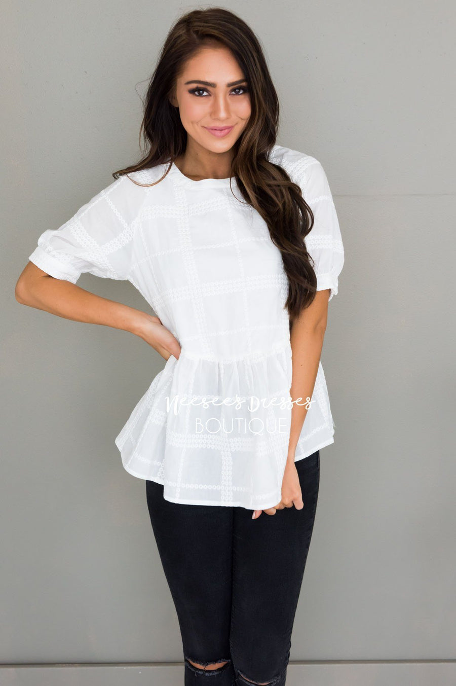 Light My Way Modest Peplum Blouse Tops vendor-unknown