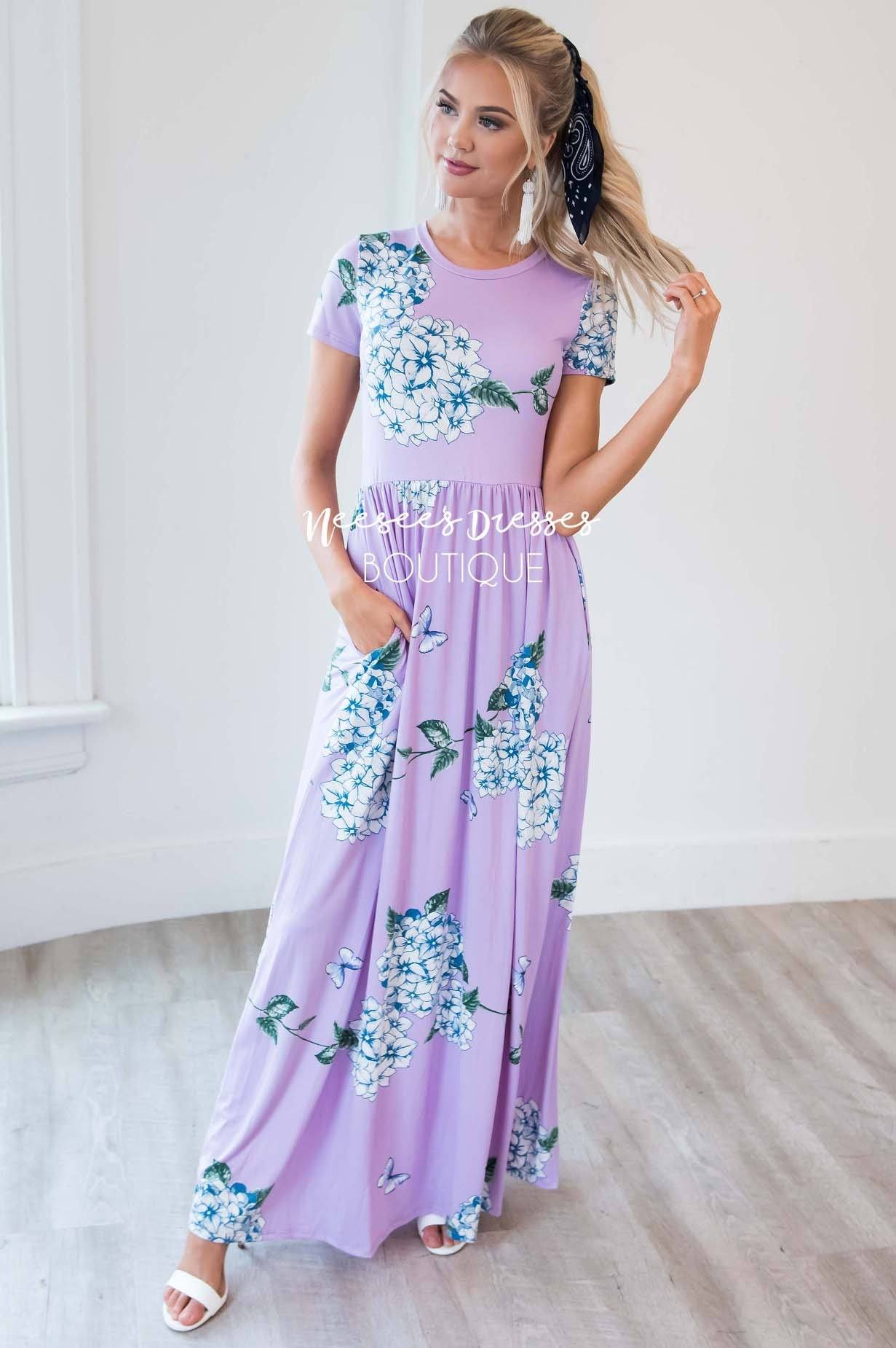 15891c6acb Orchid Butterfly Floral Maxi Modest Dress | Best and Affordable ...