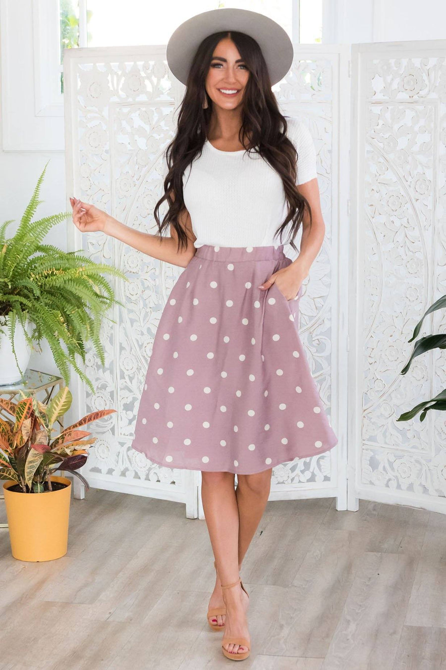 Classic Polka Dots Modest Skirt
