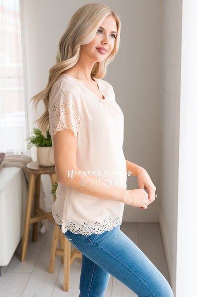 Living In The Moment Eyelet Blouse Tops vendor-unknown
