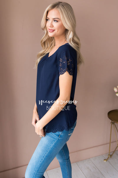 Living In The Moment Modest Eyelet Blouse