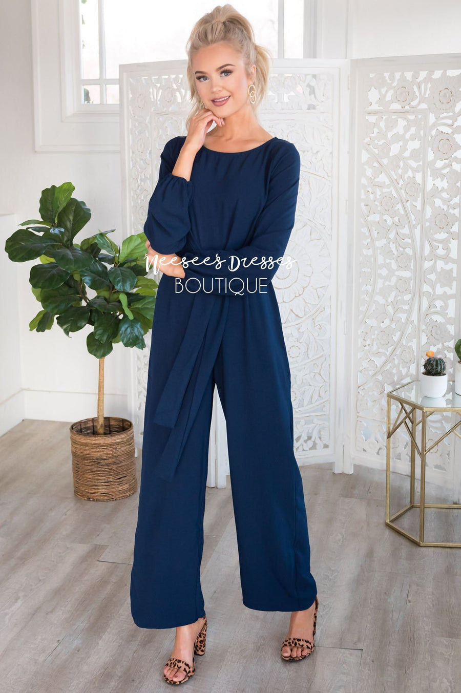 The Lolo Navy Jumpsuit Modest Dresses vendor-unknown