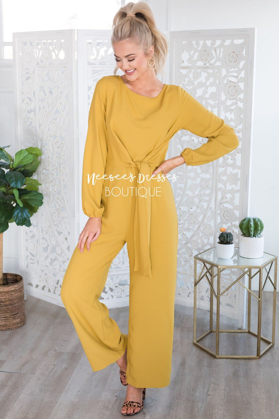 The Lolo Mustard Jumpsuit Modest Dresses vendor-unknown