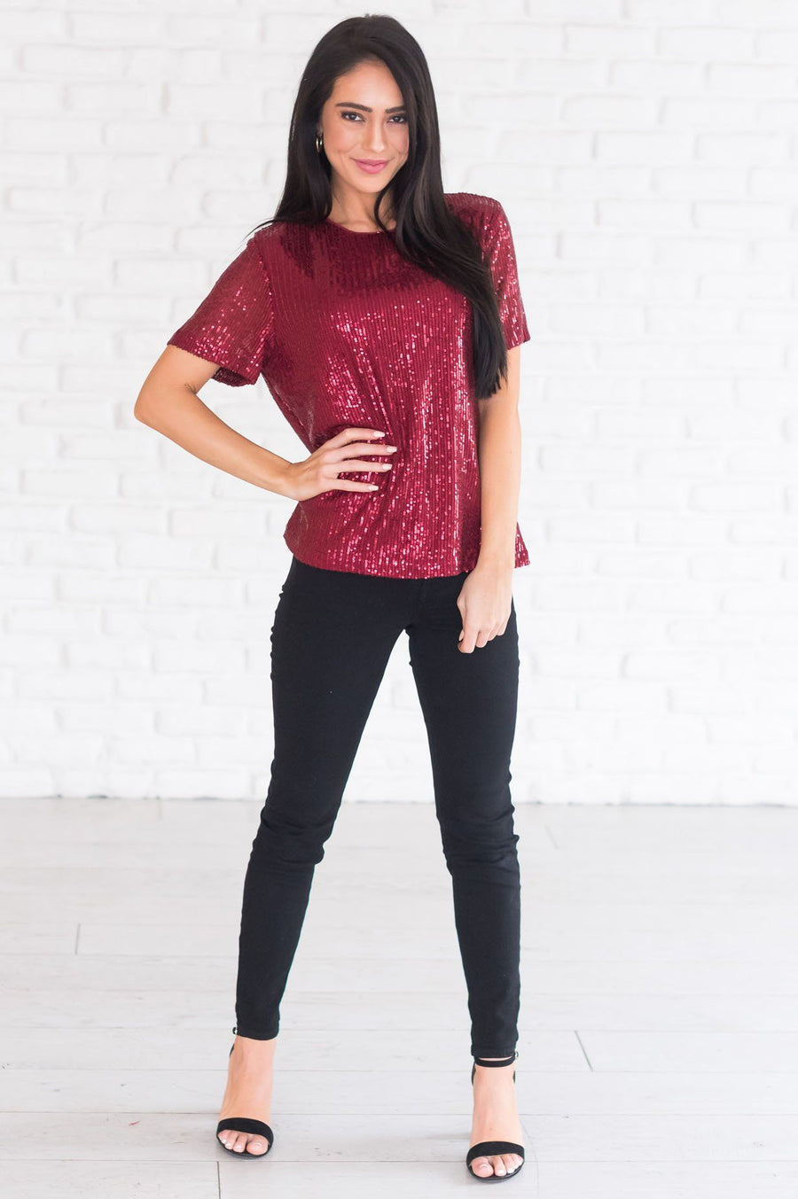 Love Actually Modest Sequin Blouse