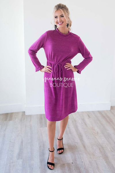The Keely Ruffle Neckline & Wrists Sweater Dress Modest Dresses vendor-unknown