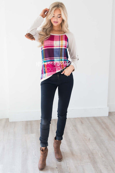 Fuchsia Plaid Elbow Patch Sweater Tops vendor-unknown