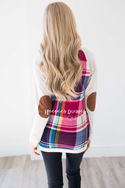 Fuchsia Plaid Elbow Patch Sweater