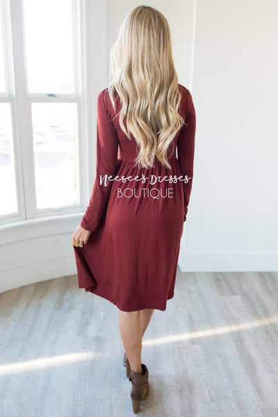 The Gwyn Solid Midi Dress Modest Dresses vendor-unknown