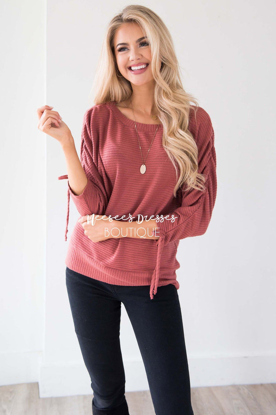 Marsala Ruched Sleeve Sweater