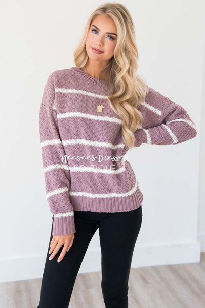 Wondering Heart Striped Sweater Tops vendor-unknown