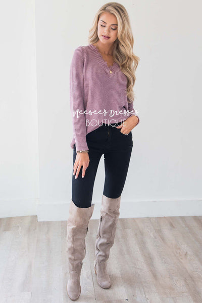 Chenille Knit V-Neck Lace Trim Sweater
