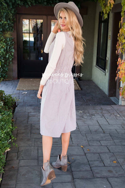 The Zoe Tie Detail Overall Dress Modest Dresses vendor-unknown