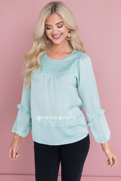 Mint Smocked Satin Blouse Tops vendor-unknown