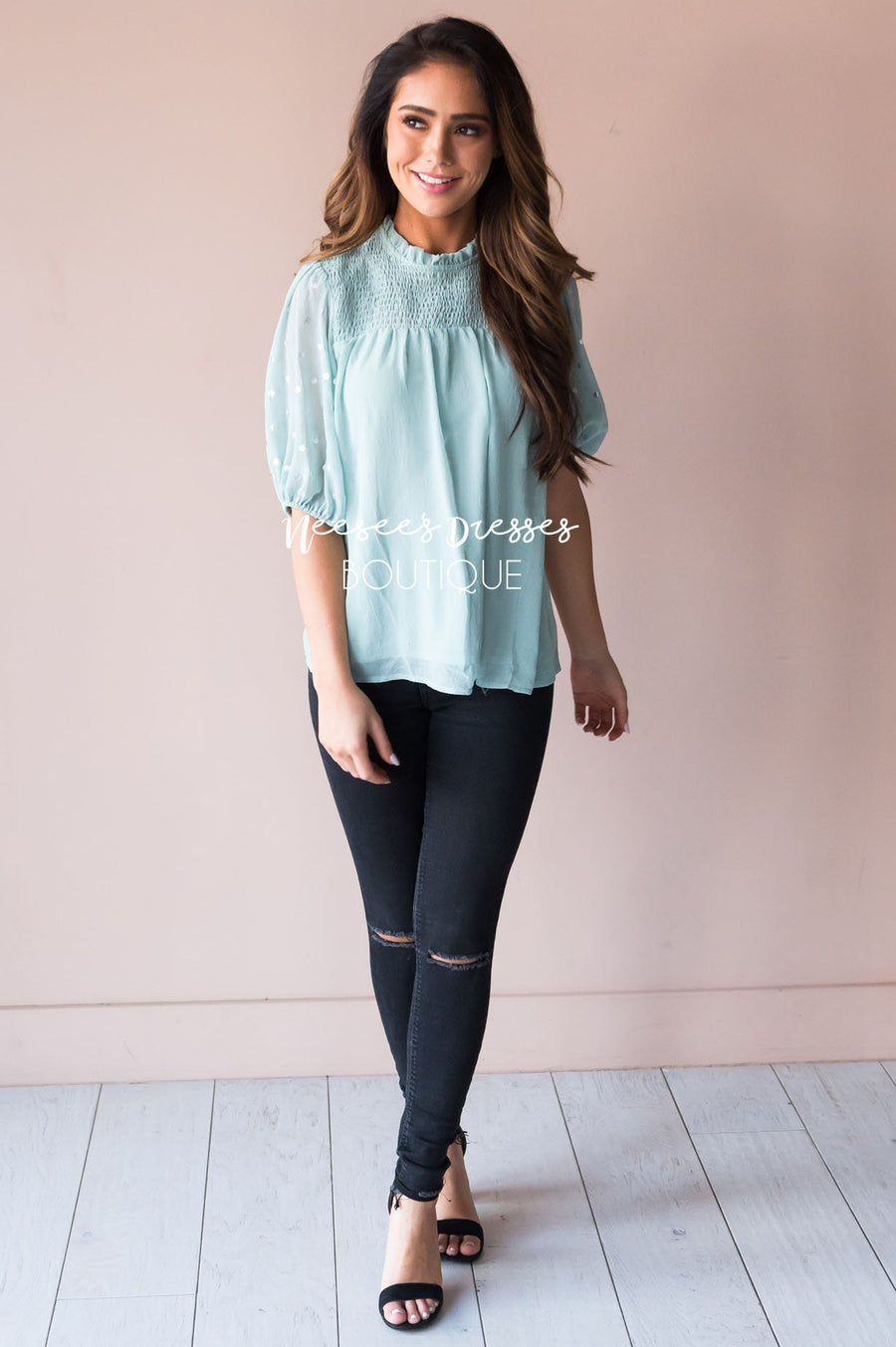 Mint Shimmer Smocked Modest Blouse