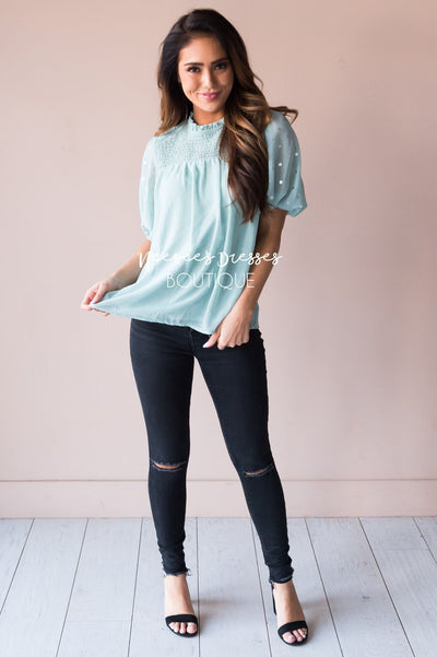 Mint Shimmer Smocked Modest Blouse Tops vendor-unknown