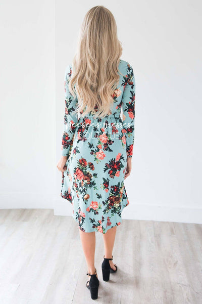 Mint In Bloom Long Sleeves Dress Modest Dresses vendor-unknown