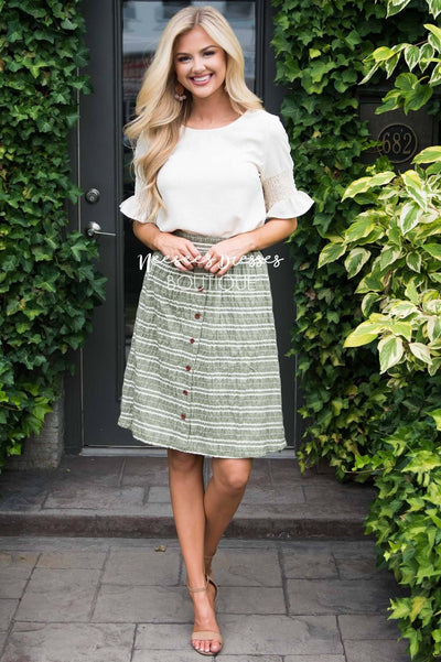 Burst Of Joy Striped Button Skirt Modest Dresses vendor-unknown