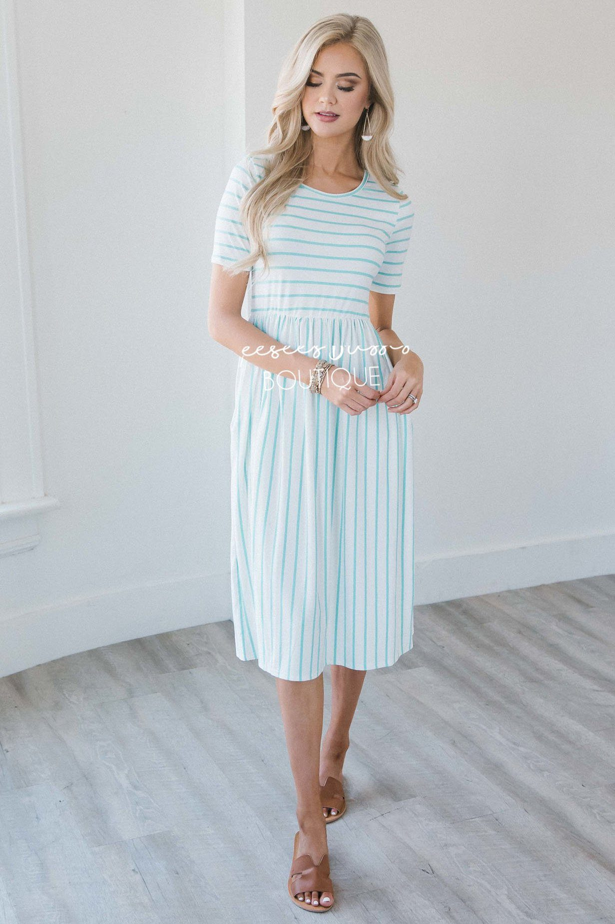 fda1822f605a5 Ivory Mint Stripe Pocket Modest Dress for Church| Best Place To Buy ...