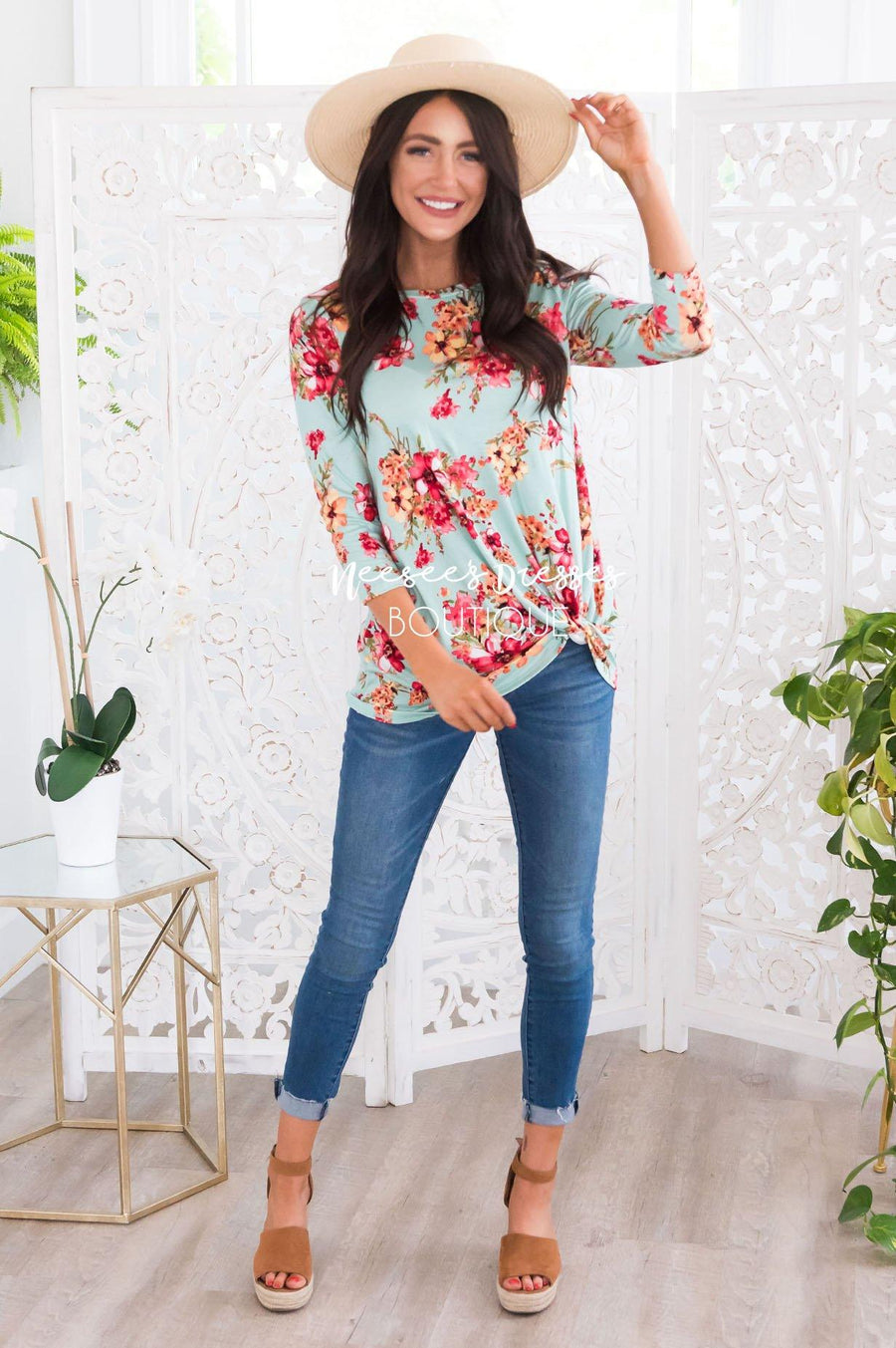 Floral Side Modest Twist Top