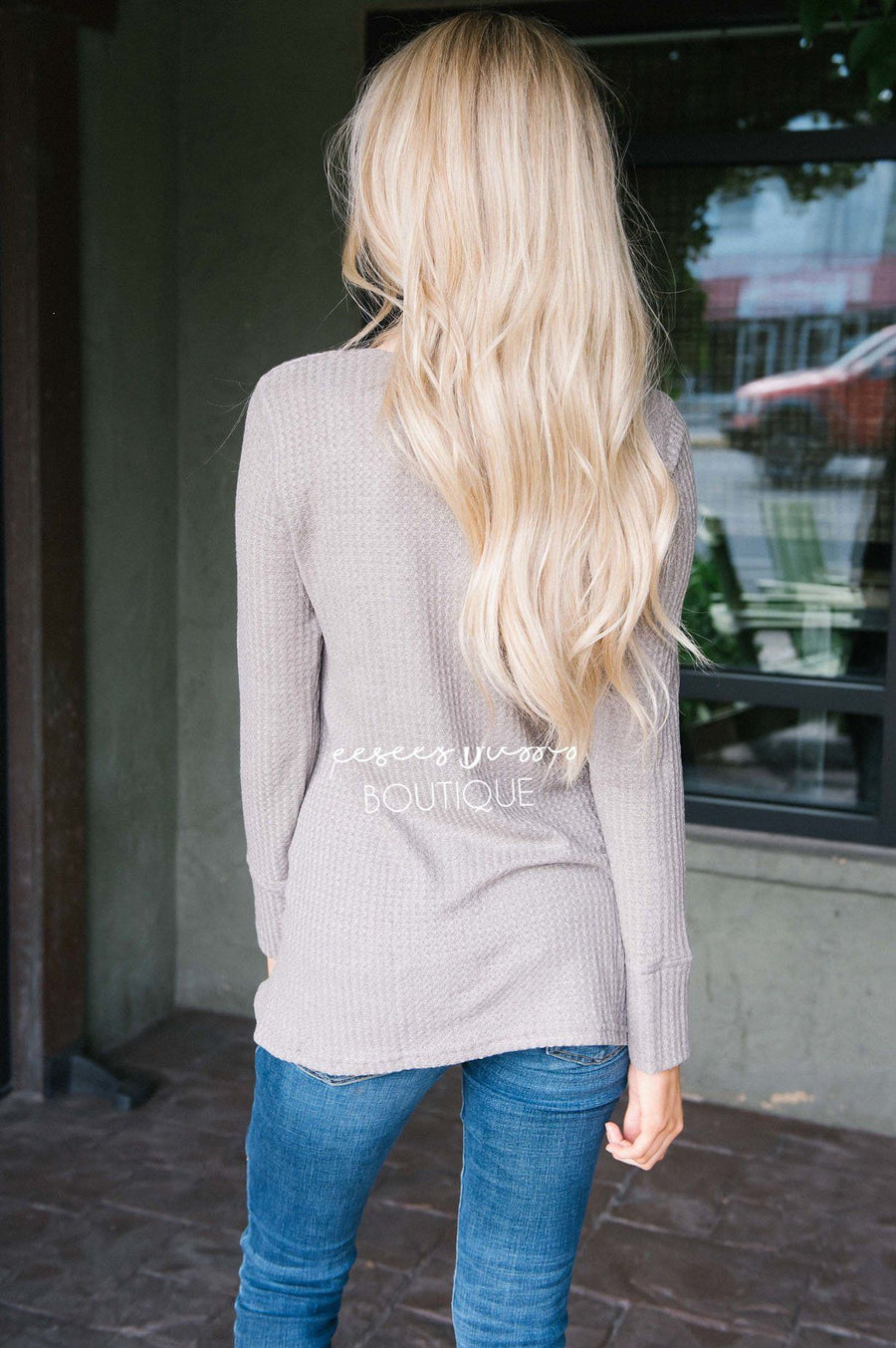 Taupe Thermal Lace Insert Top