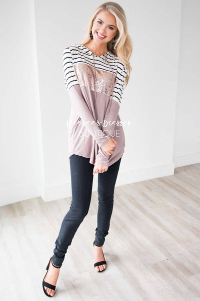 Striped Sequin Color Block Hoodie Tops vendor-unknown