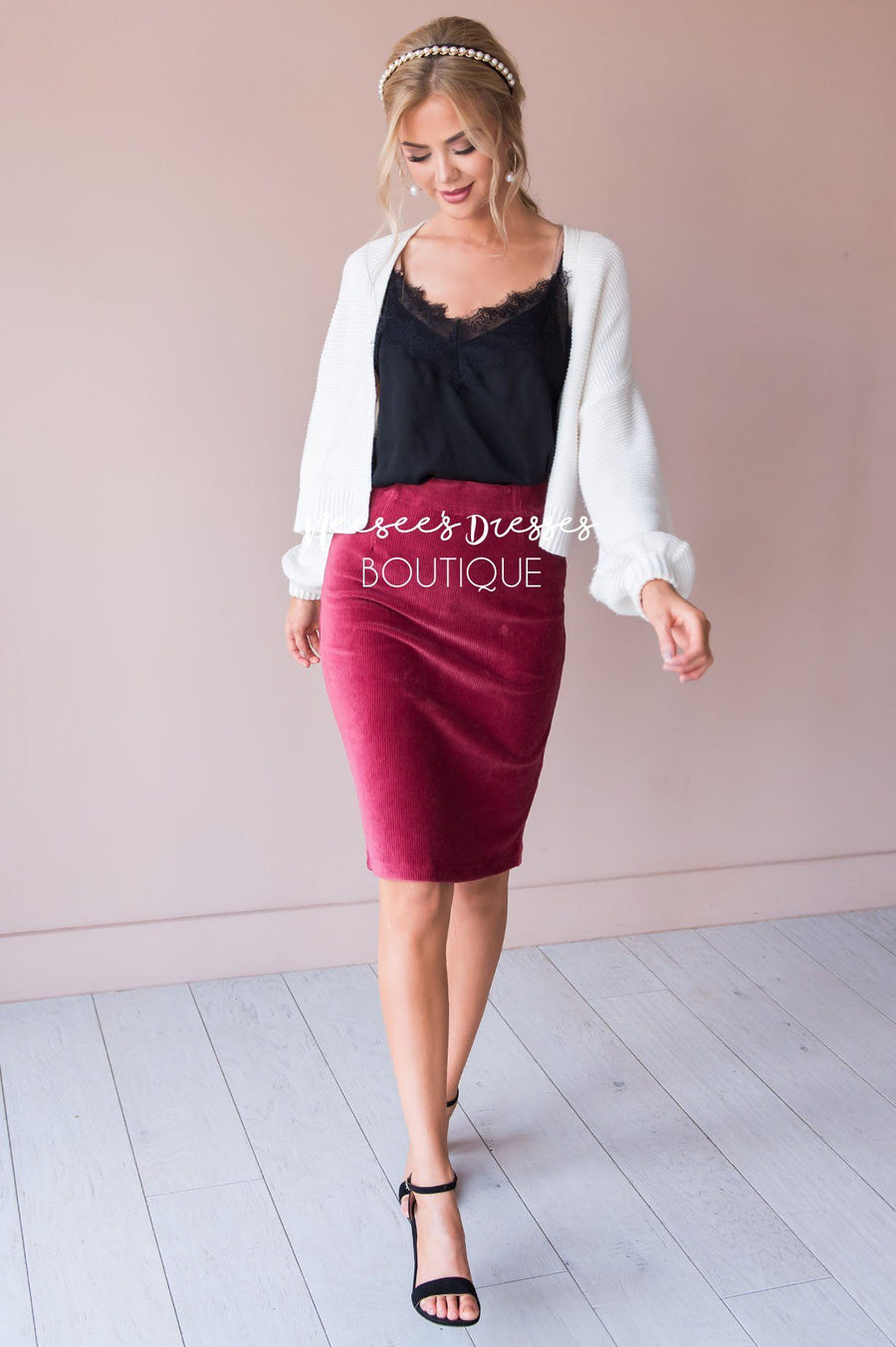 Morning Meeting Corduroy Pencil Skirt