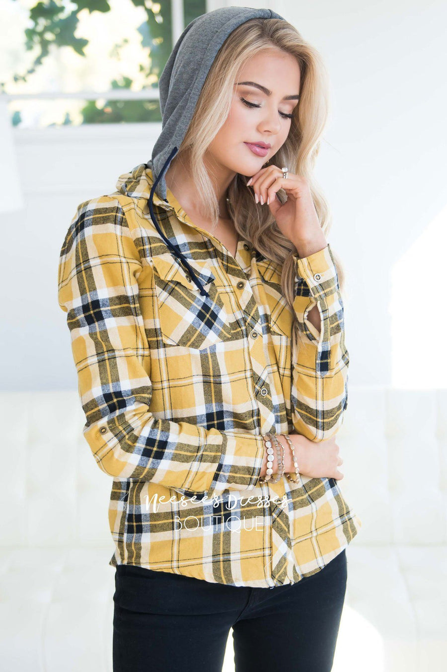 Steady My Soul Plaid Button Up Hoodie