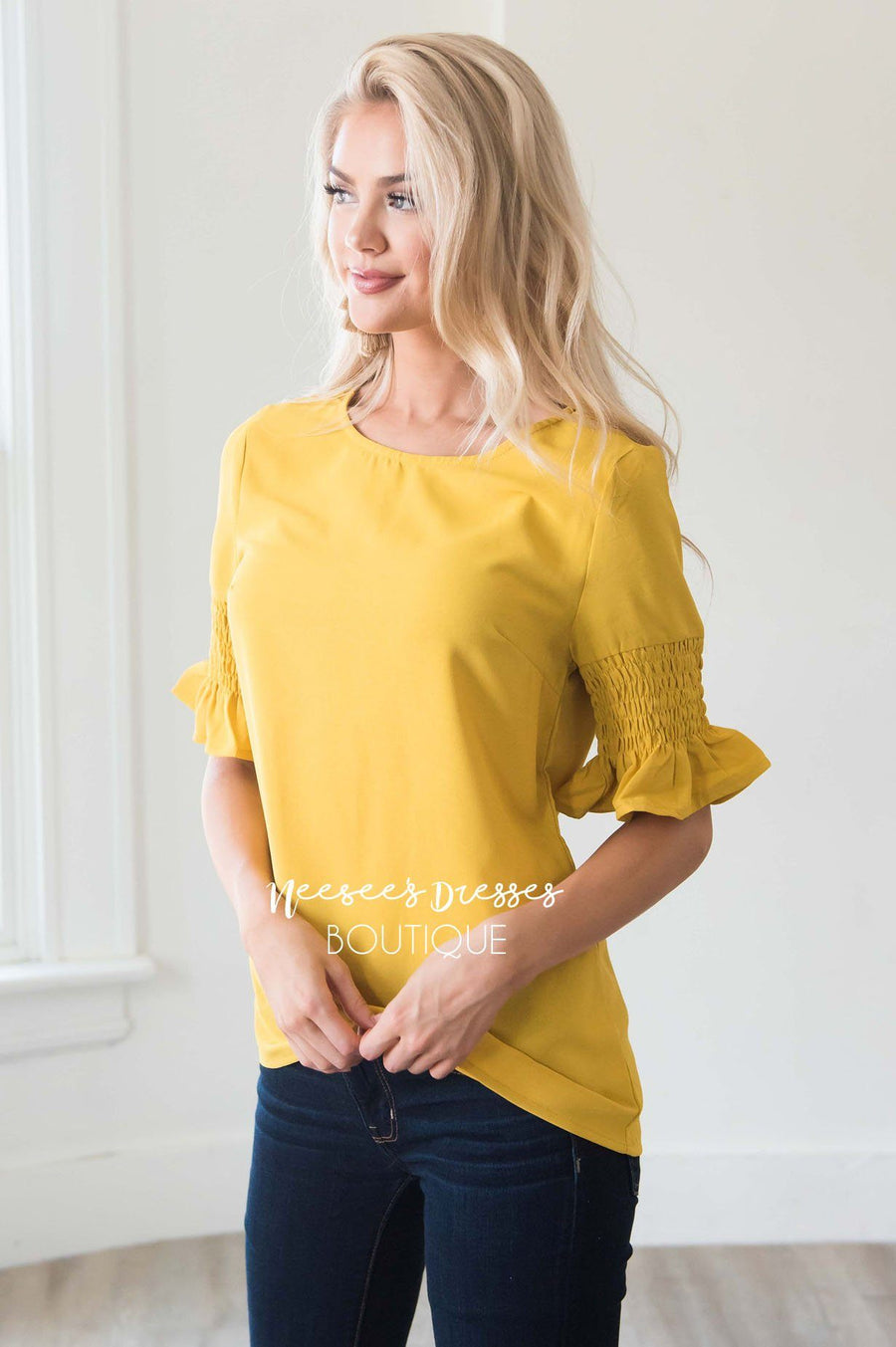 Something New Gathered Sleeve Top Modest Dresses vendor-unknown