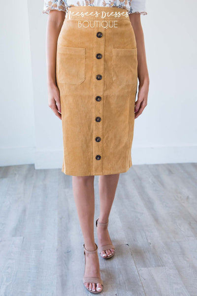 Corduroy Button Detail Skirt Skirts vendor-unknown