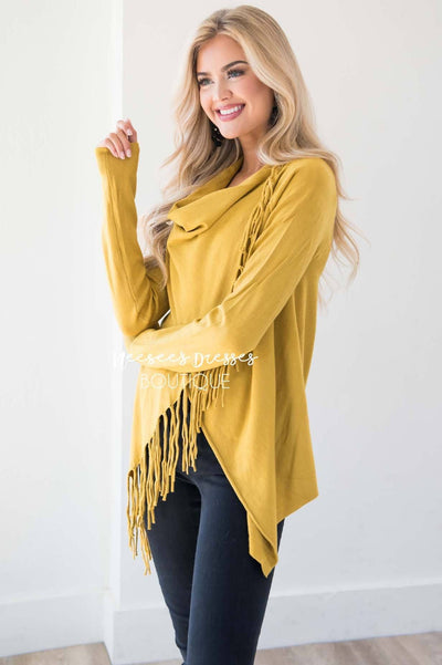 New Stories Fringe Wrap Sweater Tops vendor-unknown