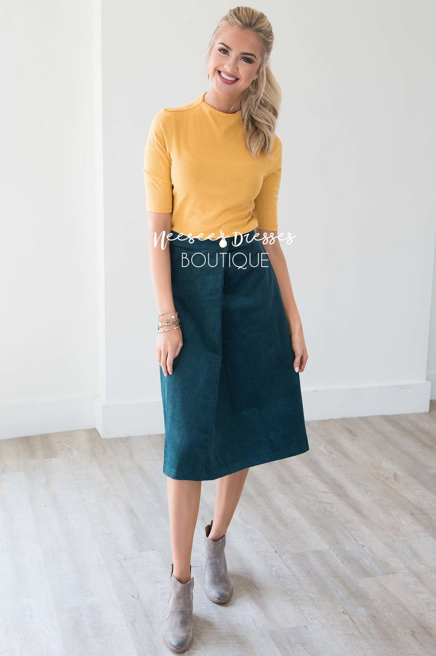 Falling Through Time Corduroy Skirt