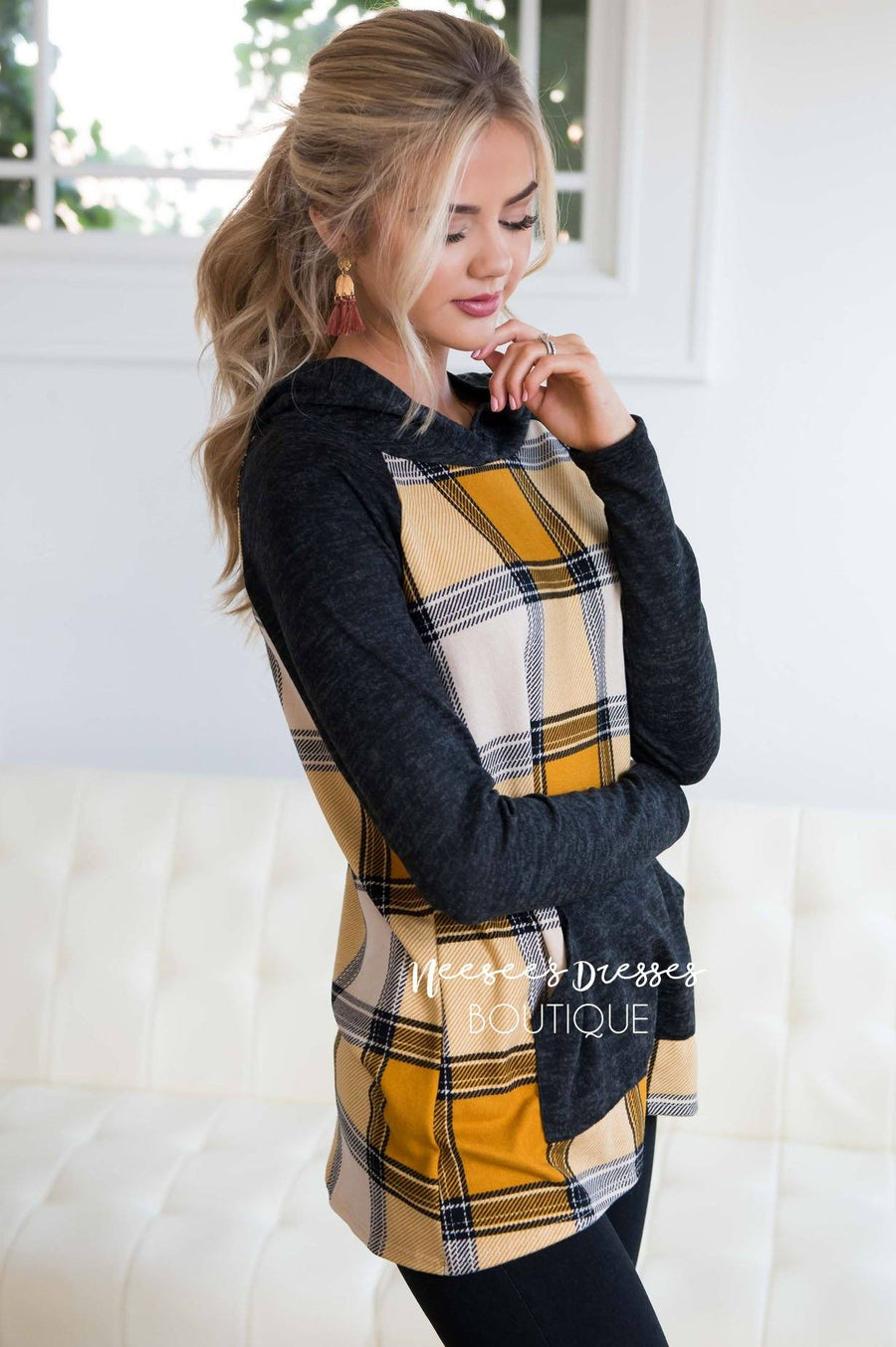Plaid Pullover Hoodie Tops vendor-unknown