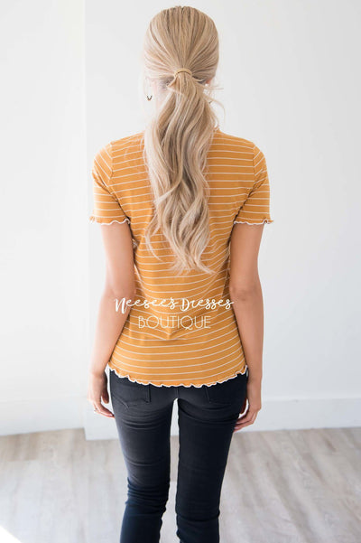 All I Need Ruffle Trim Top Tops vendor-unknown