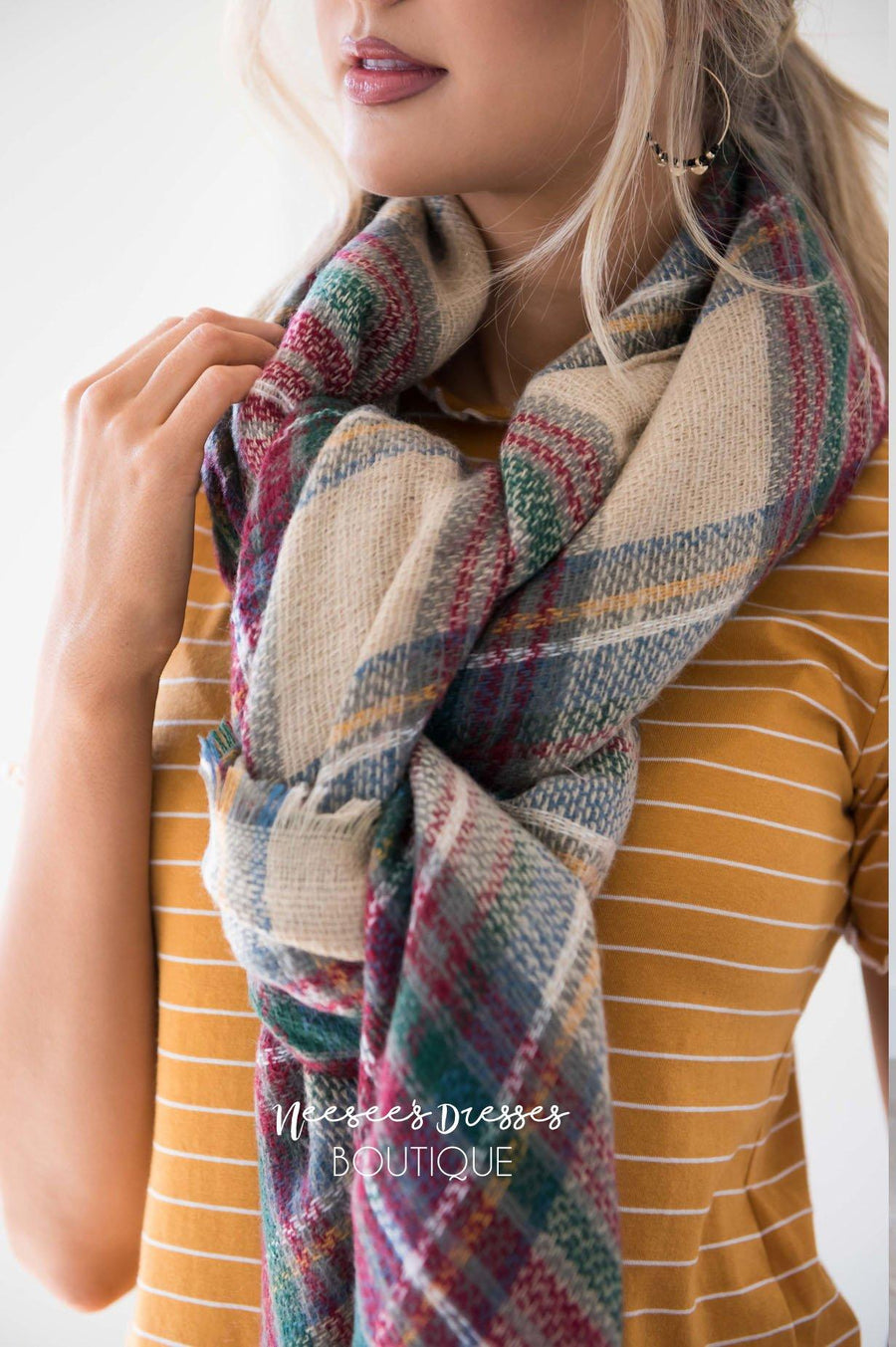 Checkmate Plaid Blanket Scarf Accessories & Shoes Leto Accessories