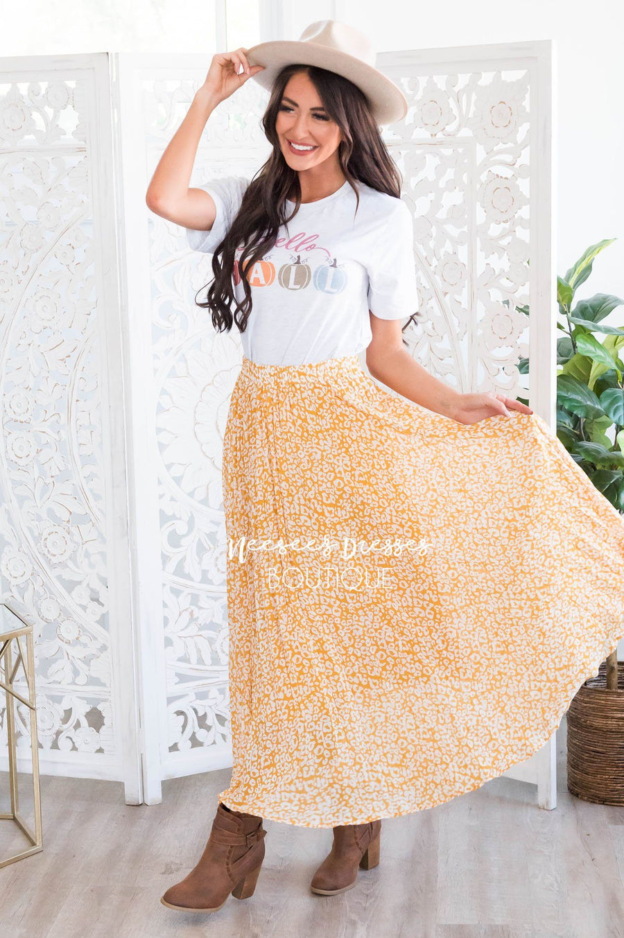 Lost Time Modest Leopard Print Skirt